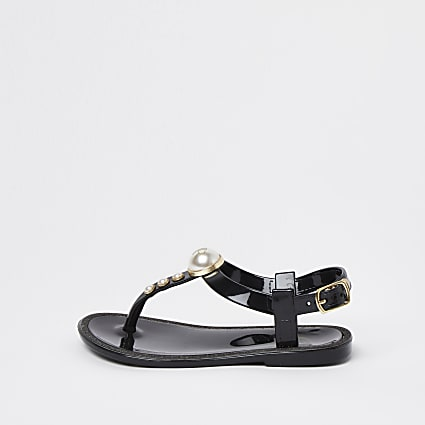 Mini girls black pearl jellie sandals