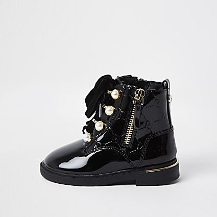 Mini girls black pearl lace up boots