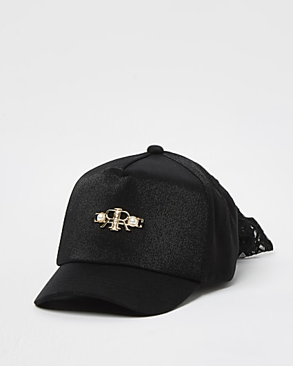 Mini girls black pearl mesh bow cap