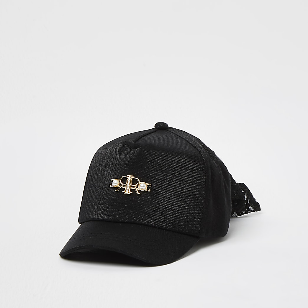 Mini girls black pearl mesh bow cap