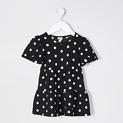 Mini girls black polka dot print smock dress