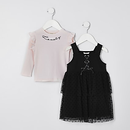 Mini girls black ponte pinny t-shirt