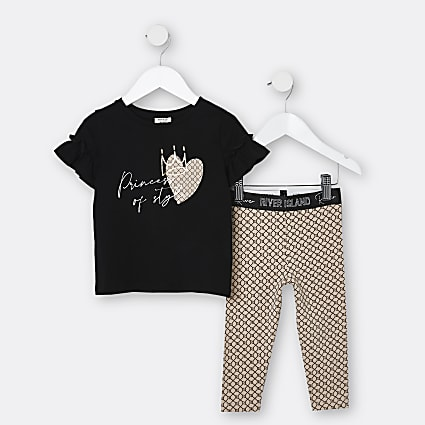 Mini girls black 'Princess of Style' outfit