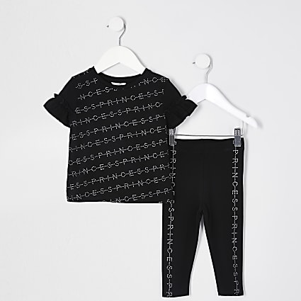 Mini girls black 'Princess' t-shirt outfit