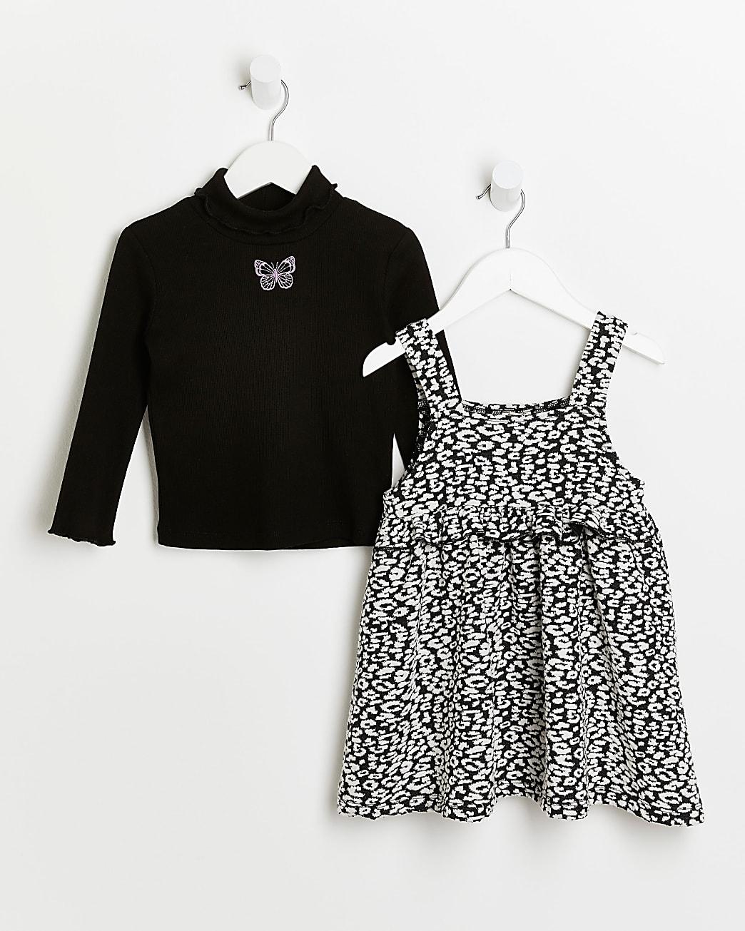 Mini girls black print pinafore dress outfit