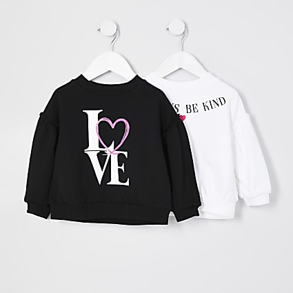 Mini girls black print sweatshirt 2 pack