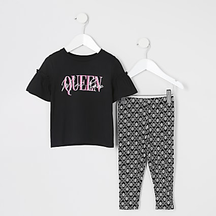 Mini girls black printed frill T-shirt outfit