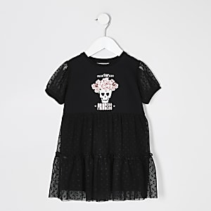 Mini girls black printed mesh frill dress