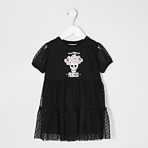 Mini - Zwarte mesh jurk met ruches en print voor meisjes