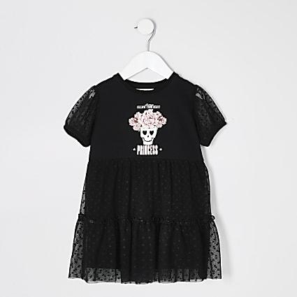 Mini girls black printed mesh frill dress