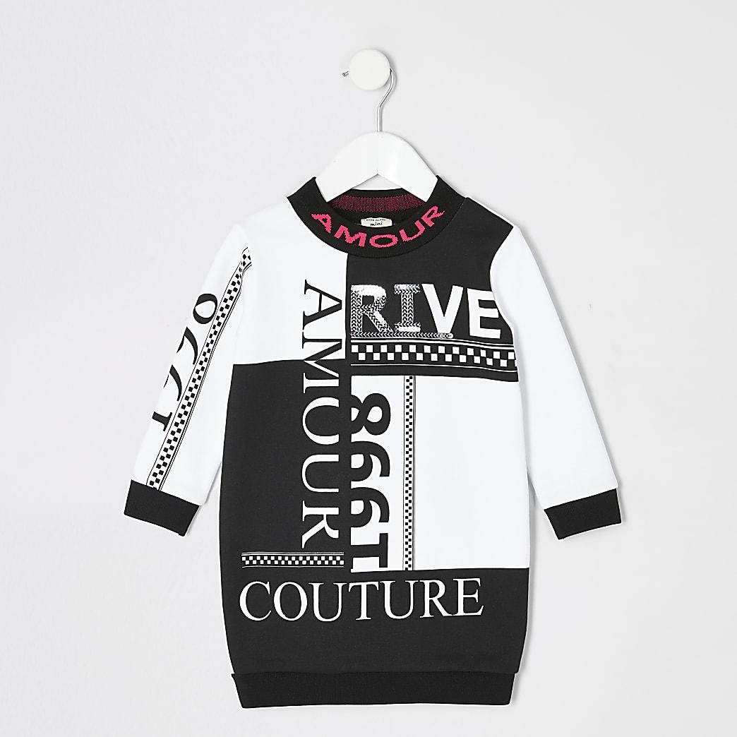 Mini - Zwarte sweatshirtjurk met print voor meisjes