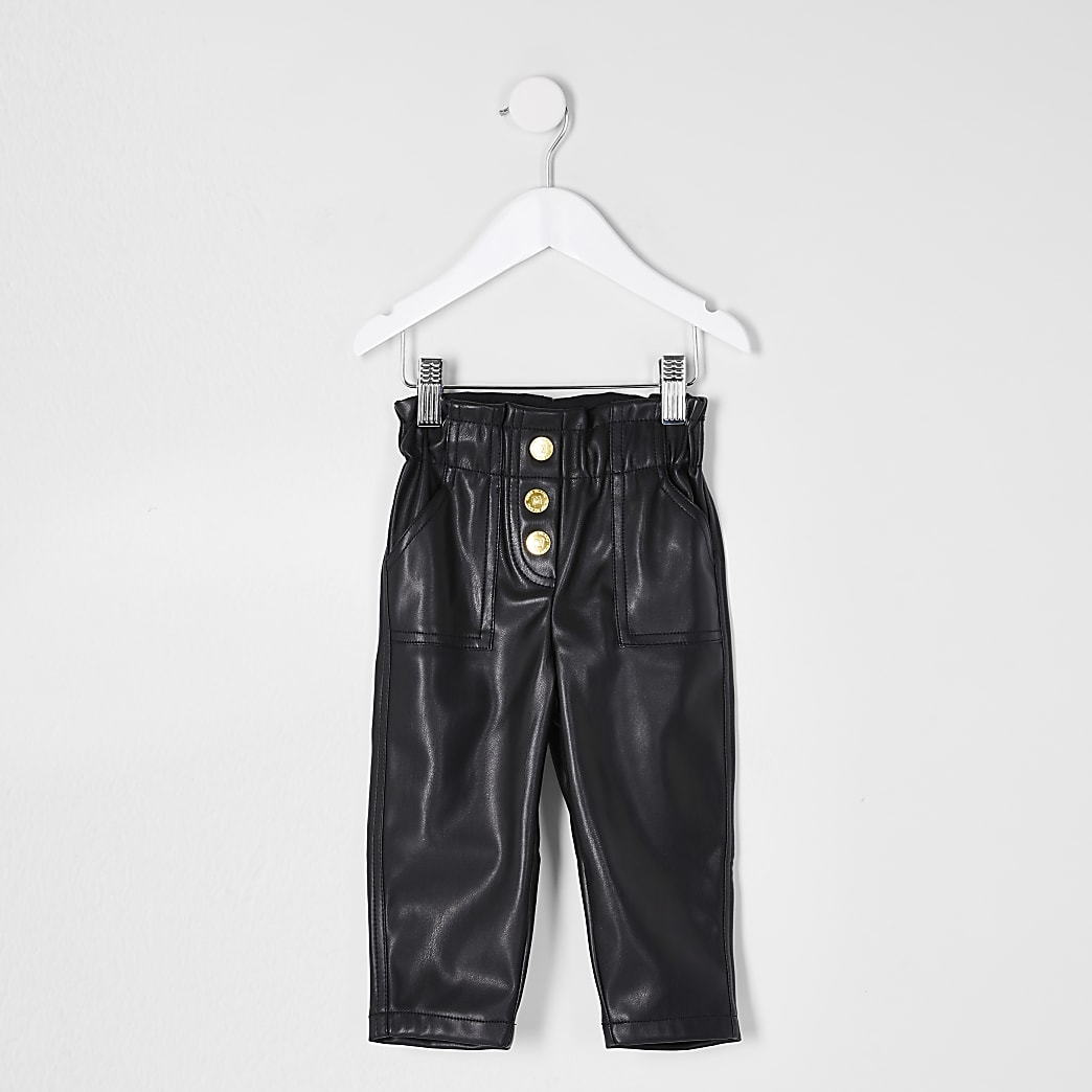 Mini girls black pu carla trouser