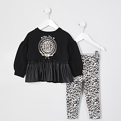 Mini girls black PU peplum leopard outfit