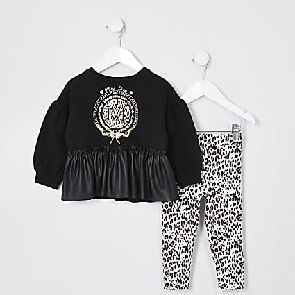 Mini girls black PU peplum leopard outfit
