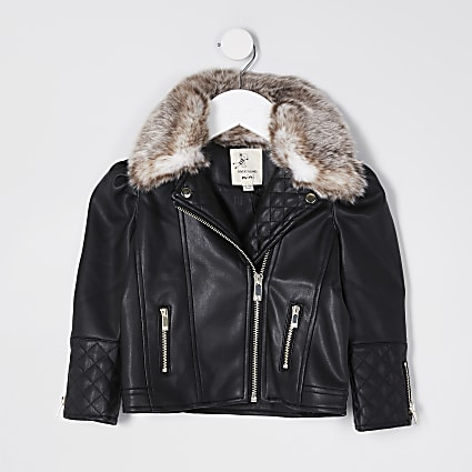 Mini girls black puff sleeve biker jacket