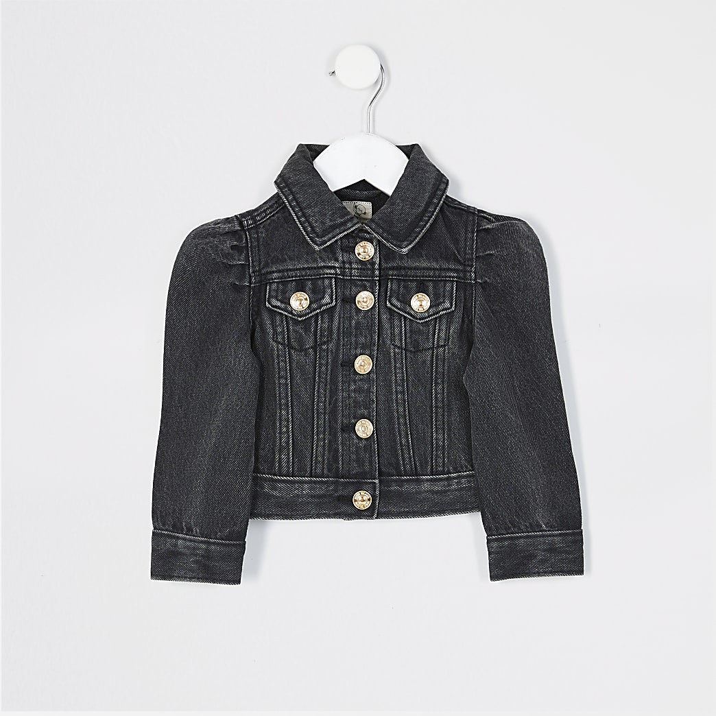 Mini girls black puff sleeve denim jacket