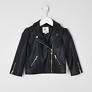 Mini girls black puff sleeve jacket