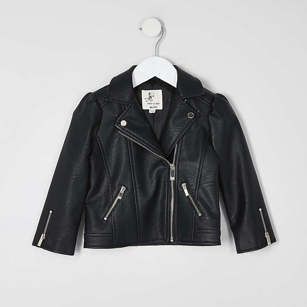 Mini girls black puff sleeve jacket