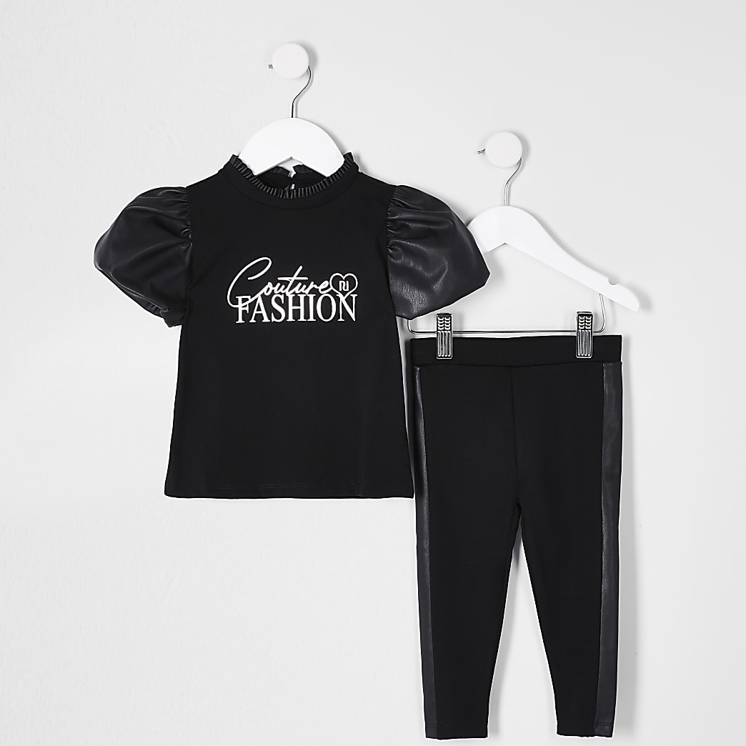 Mini girls black puff sleeve outfit