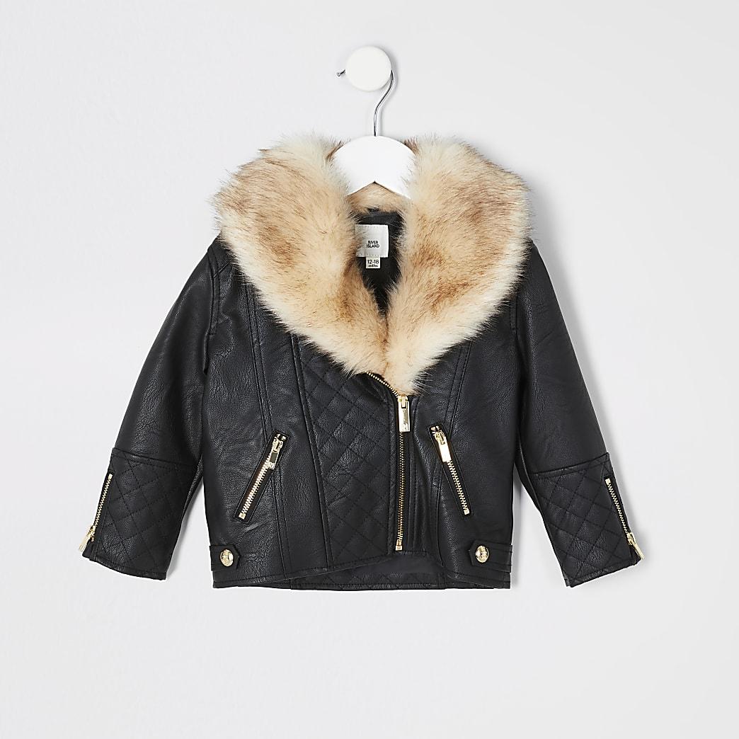 Mini girls black quilted biker jacket