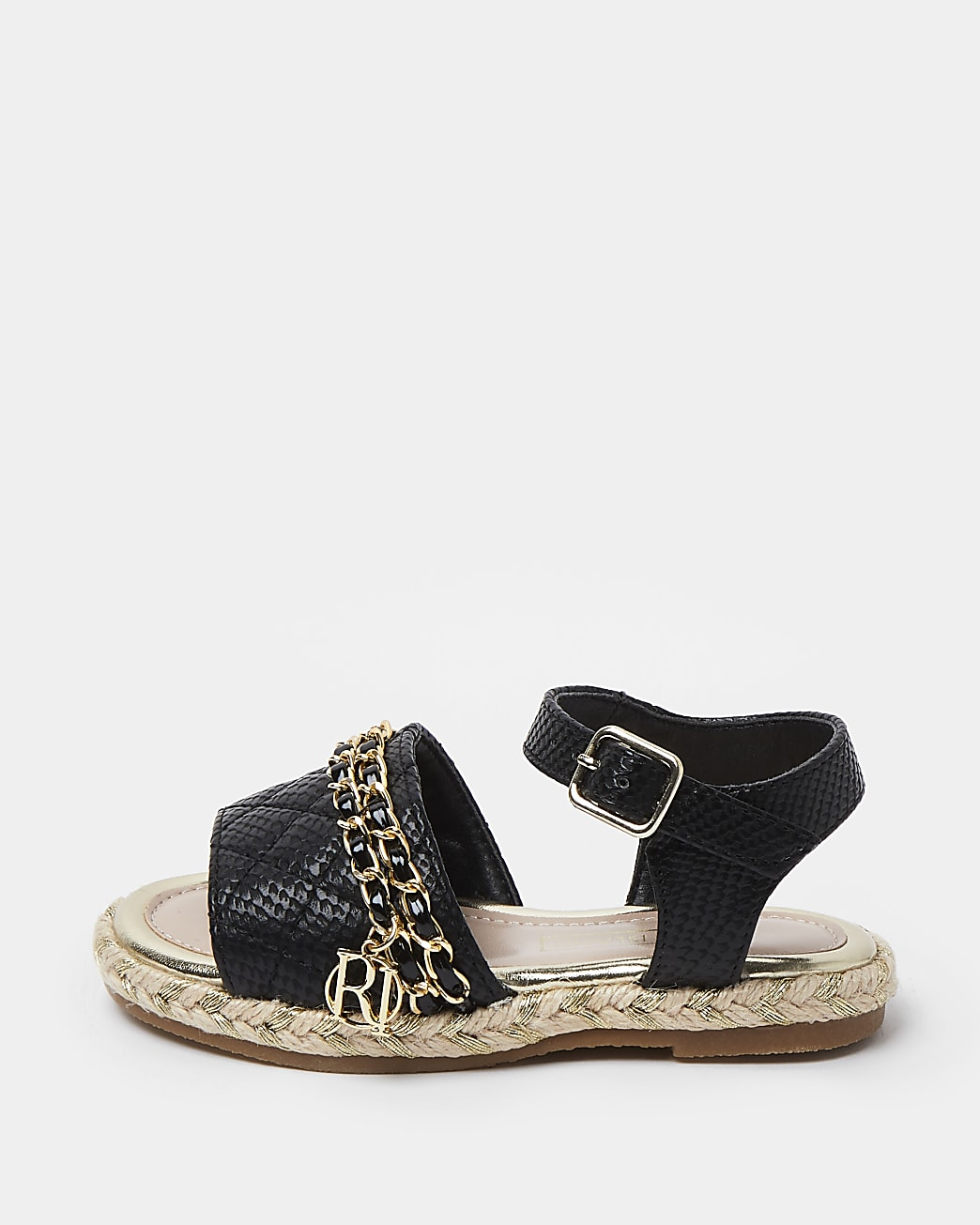 Mini girls black quilted chain sandals