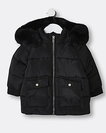 Mini girls black quilted puffer coat