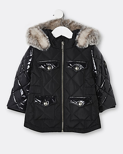 Mini girls black quilted puffer coats