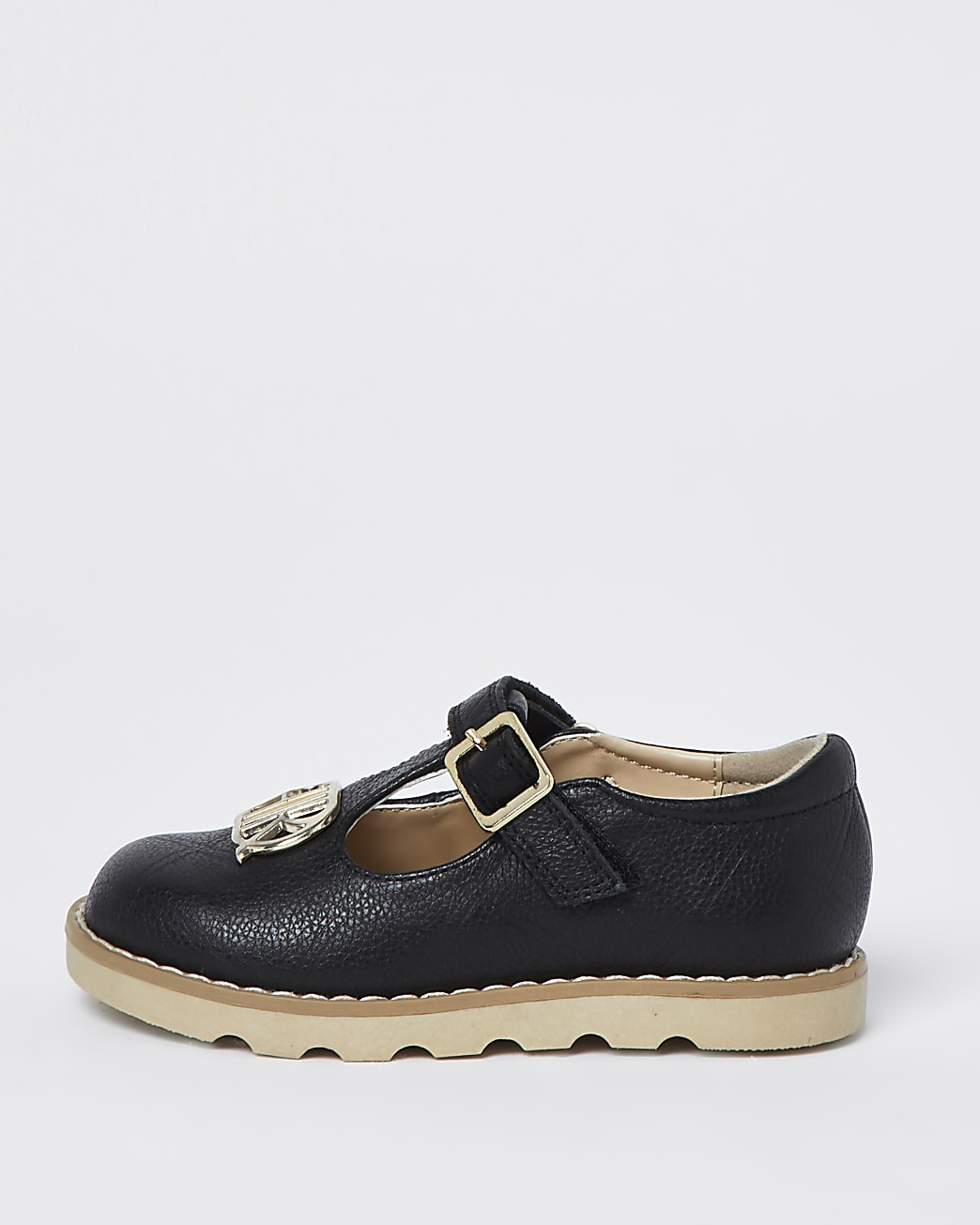 Mini girls black real leather clumpy shoes