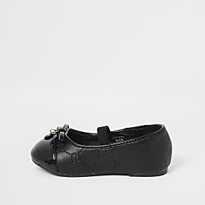 Mini girls black RI ballerina pumps