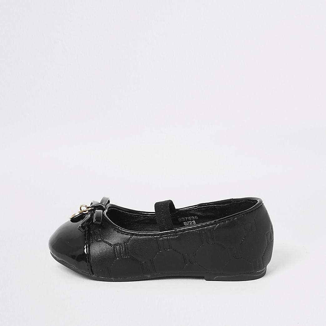 Mini - Zwarte ballerinapumps met RI-logo voor meisjes