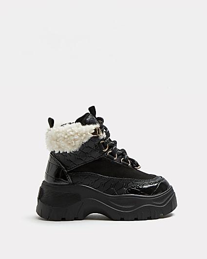 Mini girls black RI borg lace up boots