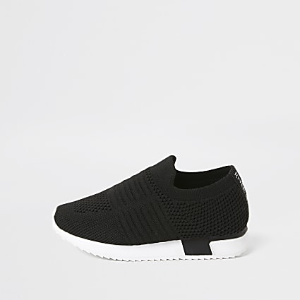 Mini Girls Black RI Branded Knit Runner