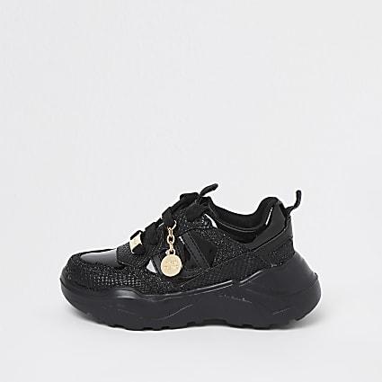 Mini girls black RI chunky lace up trainers
