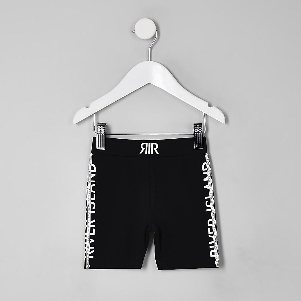 Mini - Zwarte wielrenshort met RI-logo voor meisjes