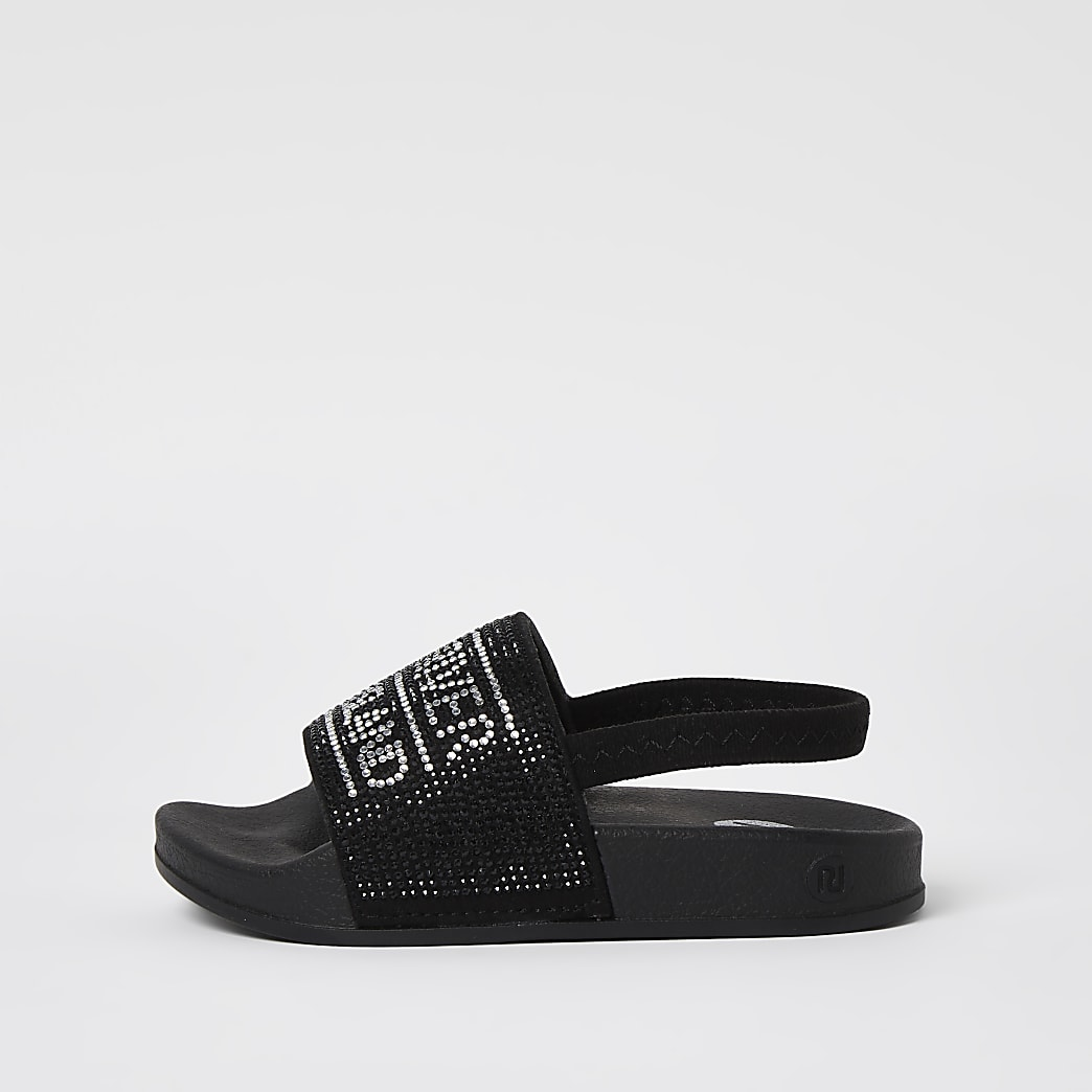 Mini girls black RI diamante sliders