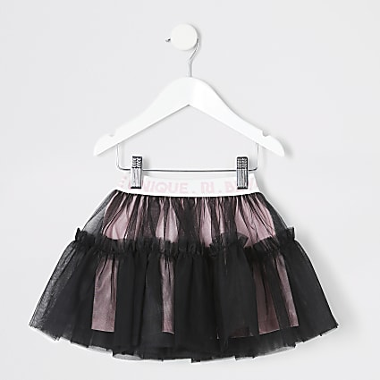 Mini girls black RI elasticated tutu skirt