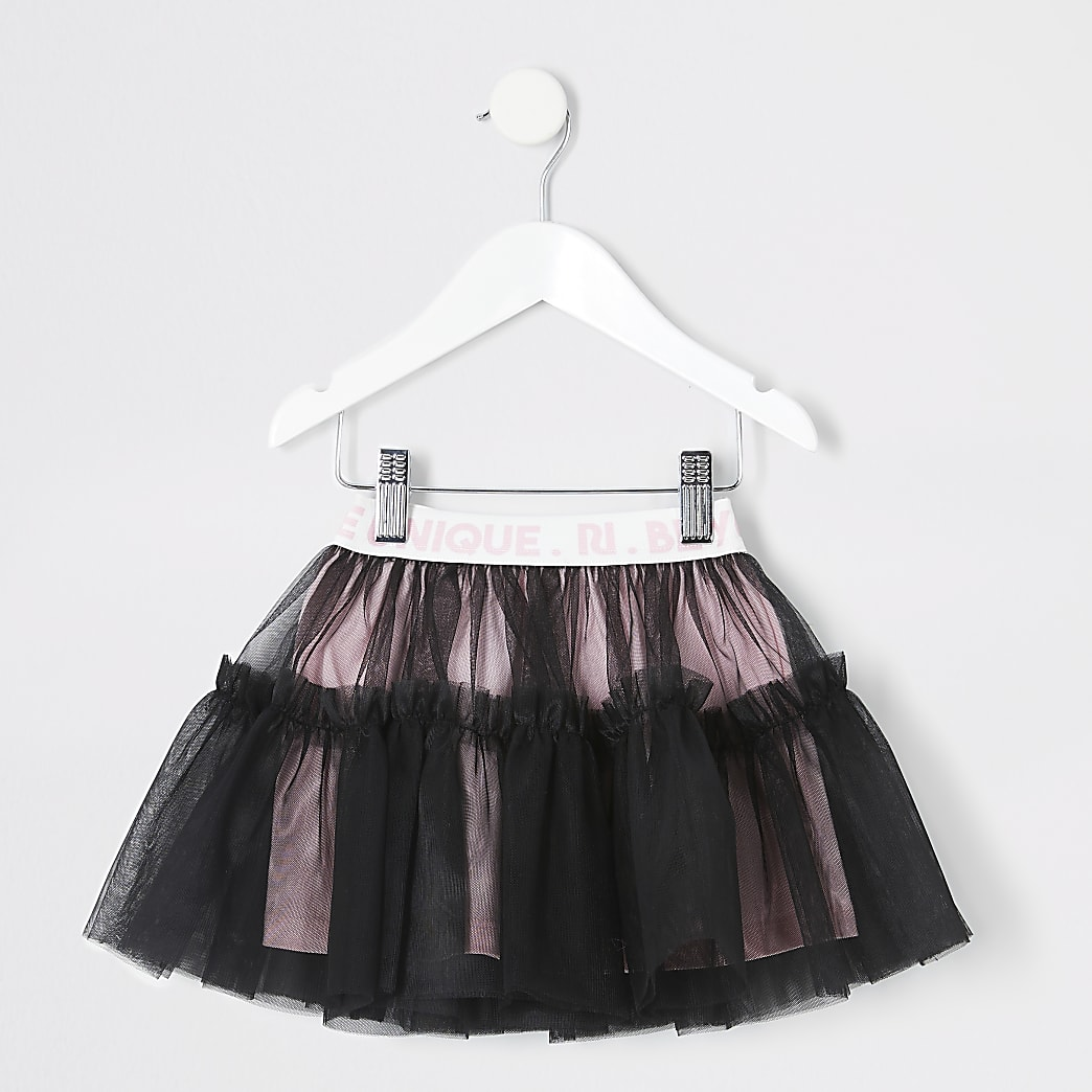 Mini girls black RI elasticated tutu skirt