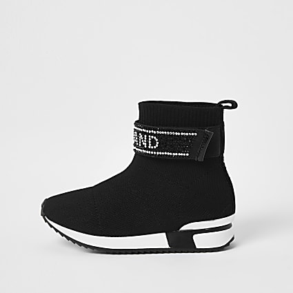Mini girls black RI embellished sock trainers