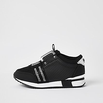 Mini girls black RI embellished trainers