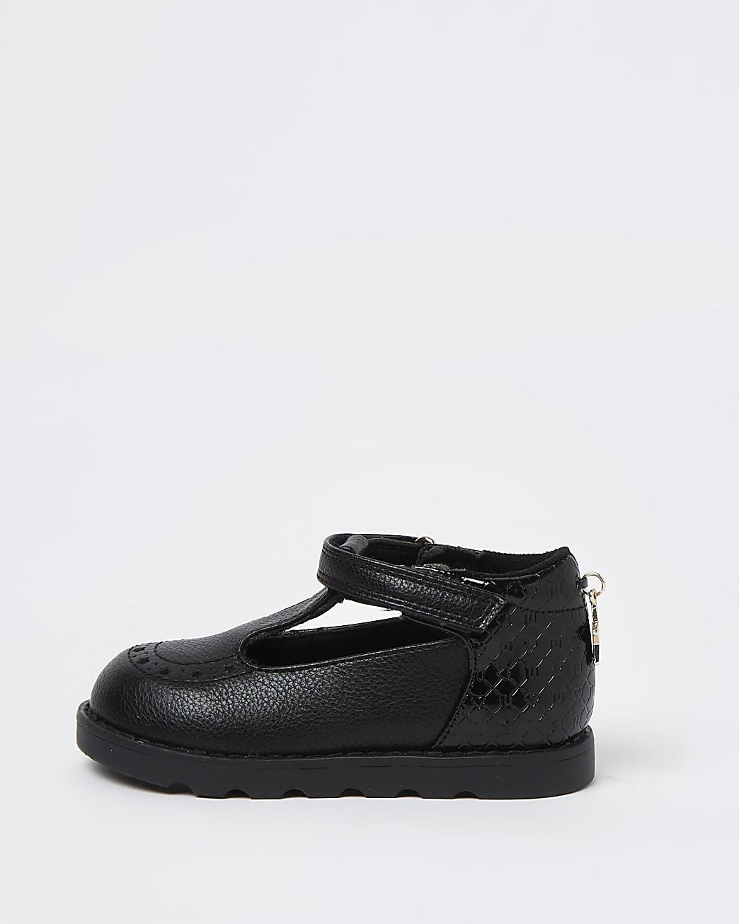 Mini girls black RI embossed shoes