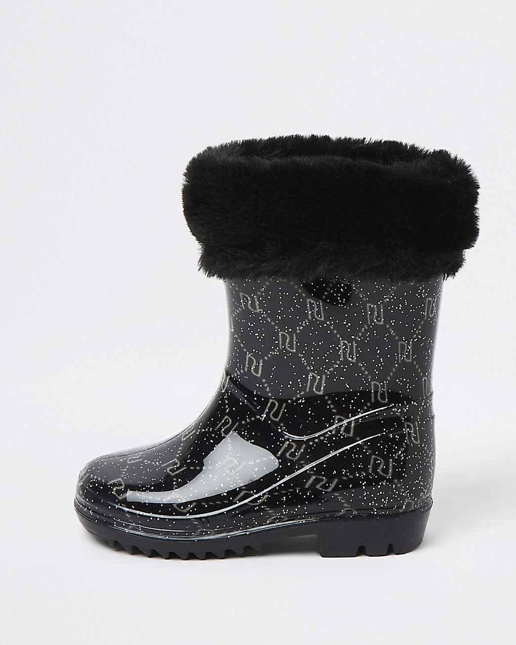 Mini girls black RI faux fur wellie boots