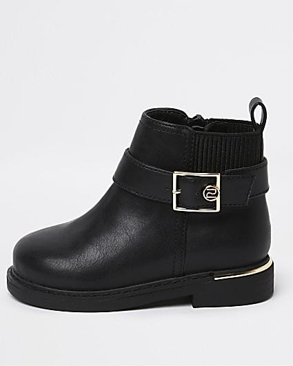 Mini girls black RI gold buckle boots
