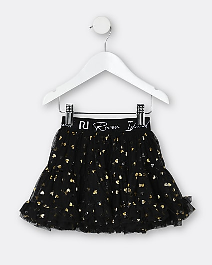 Mini girls black RI heart print tutu skirt