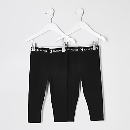 Mini girls black RI leggings 2 pack
