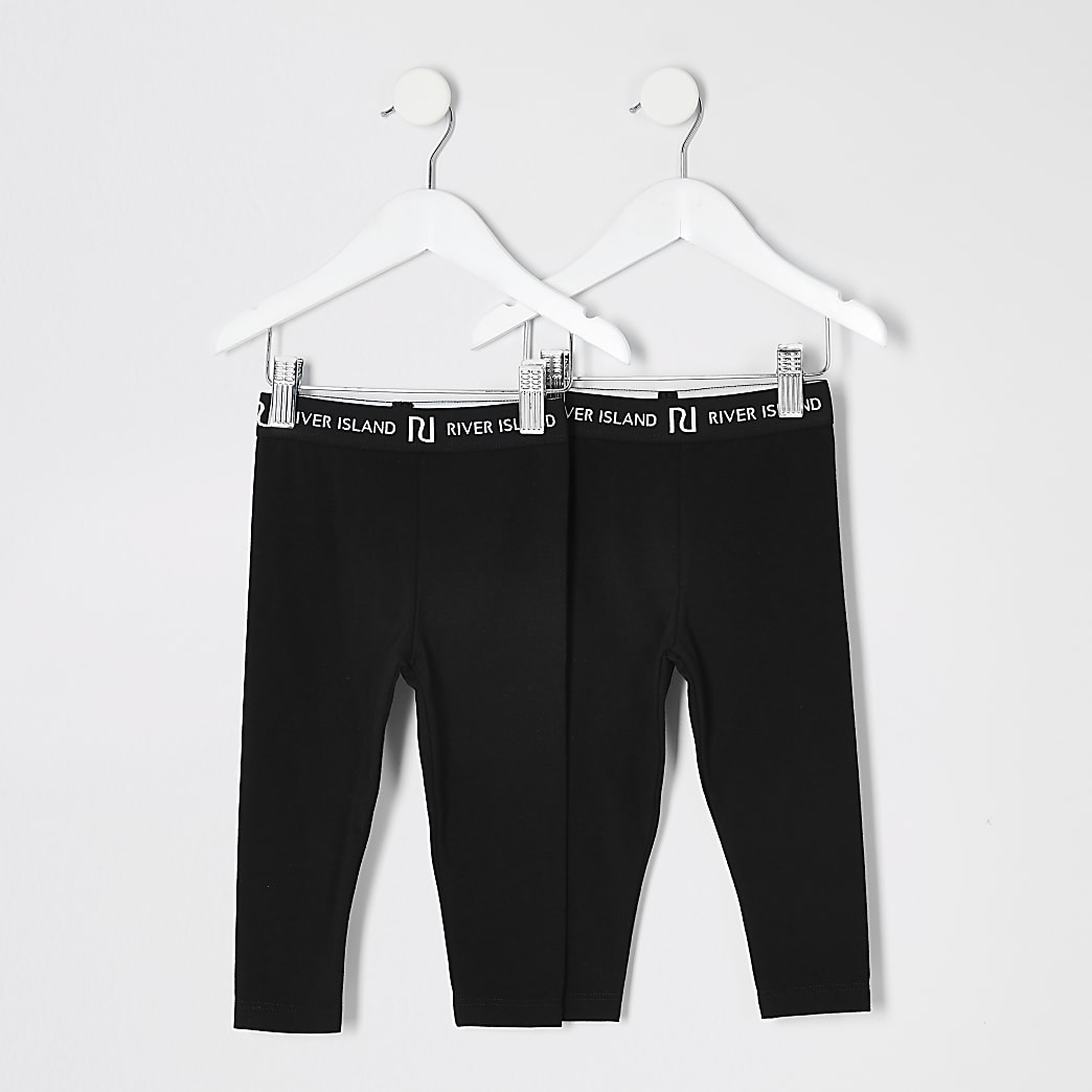 Mini girls black RI leggings 2 pack