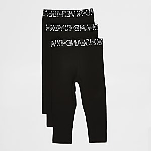 Mini girls black RI leggings 3 pack