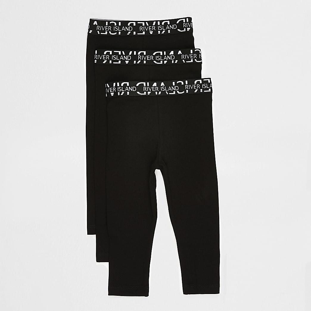 Mini girls black RI leggings 3 pack