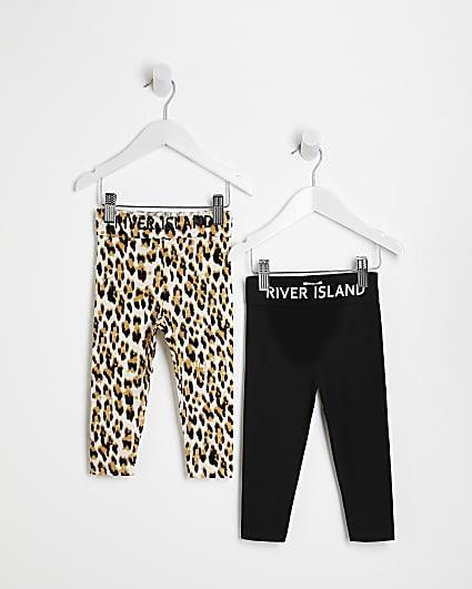 Mini girls black RI leopard  leggings 2 pack