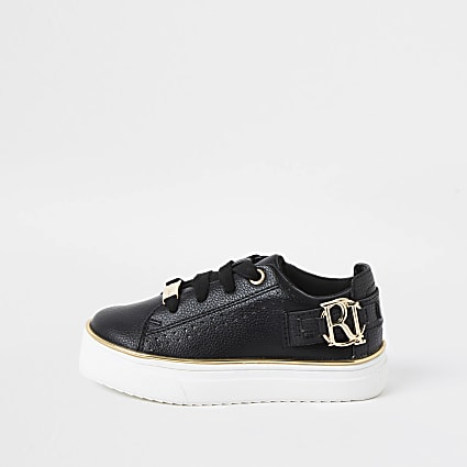 Mini girls black RI logo lace up trainer