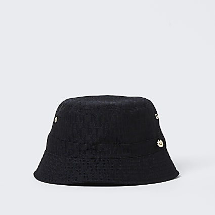 Mini girls black RI monogram bucket hat